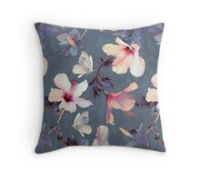 Butterflies and Hibiscus Flowers - a painted pattern Throw Pillow