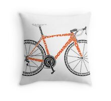 Typographic Anatomy of a Road Bike Throw Pillow