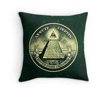 All seeing eye, pyramid, dollar, freemason, god Throw Pillow