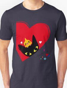 BLACK CAT,COCKATIEL,HEARTS T-Shirt