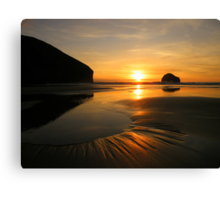 Cornwall: Patterns in the Sunset Canvas Print