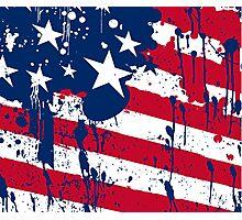 Drops Splash Colors America Flag  Photographic Print