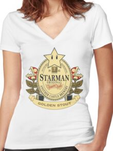 Starman Original:  Golden Stout Women's Fitted V-Neck T-Shirt