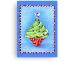 Christmas Tree Cupcake blue Canvas Print