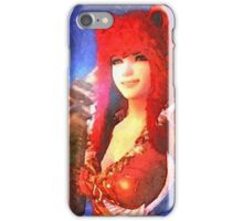 Beauty girl with bear hat iPhone Case/Skin