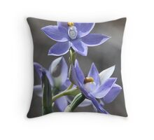 Blue Sun Orchid Throw Pillow