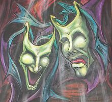 Drama Masks soft pastel by gotmeamuse