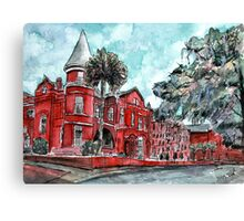 Forsyth Mansion Hotel Savannah Georgia watercolor painting Canvas Print