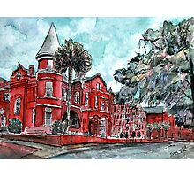Forsyth Mansion Hotel Savannah Georgia watercolor painting Photographic Print
