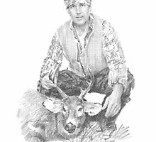 Field scientist drawing 6 deer hunt by Mike Theuer