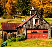 Old New England Barn in Autumn by Monica M. Scanlan