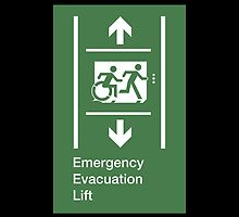 Emergency Evacuation Lift Sign, Right Hand Down and Up Arrows, with the Accessible Means of Egress Icon and Running Man, part of the Accessible Exit Sign Project by Egress Group Pty Ltd