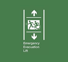 Emergency Evacuation Lift Sign, Left Hand Down and Up Arrows, with the Accessible Means of Egress Icon and Running Man, part of the Accessible Exit Sign Project by Egress Group Pty Ltd