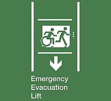 Emergency Evacuation Lift Sign, Right Hand Down Arrow, with the Accessible Means of Egress Icon and Running Man, part of the Accessible Exit Sign Project by Egress Group Pty Ltd