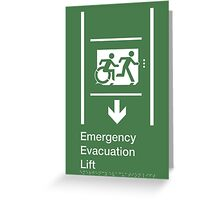 Emergency Evacuation Lift Sign, Right Hand Down Arrow, with the Accessible Means of Egress Icon and Running Man, part of the Accessible Exit Sign Project Greeting Card