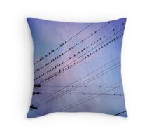 Birds on Wires 2 Throw Pillow
