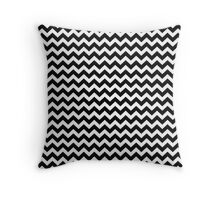 black and white chevrons Throw Pillow