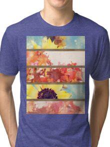romantic impressionism art watercolor leaves sunflower Tri-blend T-Shirt