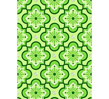 Moroccan tile pattern - Lime Green Photographic Print