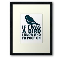 If I Was A Bird I Know Who I'd Poop On  Framed Print