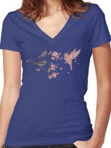 Blossom Bird  Women's Fitted V-Neck T-Shirt