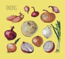 illustration of retro organic Onions set Kids Tee