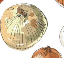 illustration of retro organic Onions set Sticker