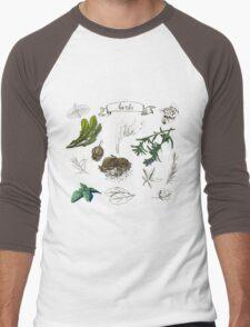 illustration set with hand drawn herbs Men's Baseball ¾ T-Shirt