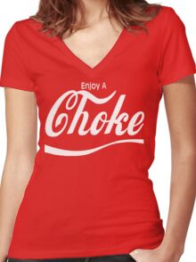 enjoy a choke Women's Fitted V-Neck T-Shirt