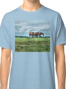 Three Horses Facing The Storm Classic T-Shirt