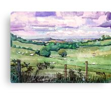 Bredon hill and Vale of Evesham from the Cotswold escarpment Canvas Print