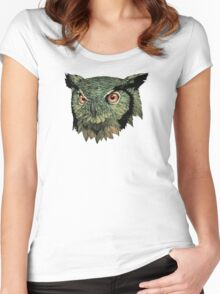 Owl - Red Eyes Women's Fitted Scoop T-Shirt