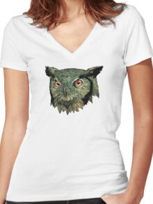 Owl - Red Eyes Women's Fitted V-Neck T-Shirt