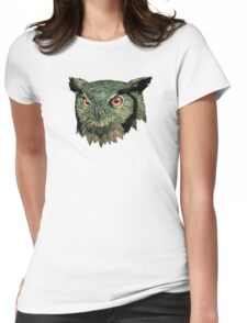 Owl - Red Eyes Womens Fitted T-Shirt