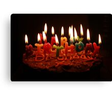birthday cake and candles Canvas Print