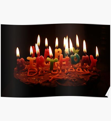 birthday cake and candles Poster
