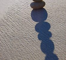 Five Round Stone Stack & Shadow  by tom j deters