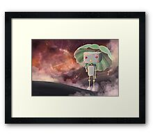 Robot in Space Framed Print