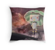 Robot in Space Throw Pillow