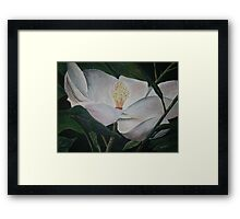 magnolia flower oil painting Framed Print