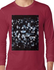 Triangle Geometric Misty Blue Smoky Galaxy Long Sleeve T-Shirt