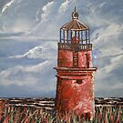 lighthouse oil painting art print by derekmccrea