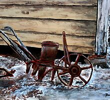 old farm plow seeder oil painting by derekmccrea