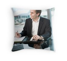 At the office Throw Pillow