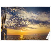 Sunset from the Schooner Boat Poster