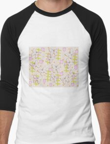 Butterfly and tulips Men's Baseball ¾ T-Shirt