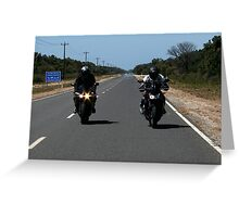 Bikes on road from 90 Mile Beach Greeting Card