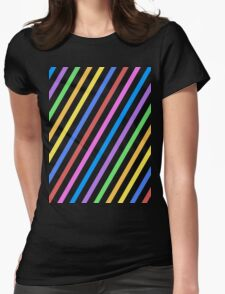 Purple Yellow Blue Black trippy stripes Womens Fitted T-Shirt