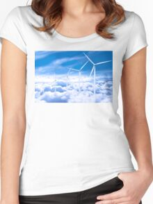 Wind Turbines in the sky Women's Fitted Scoop T-Shirt