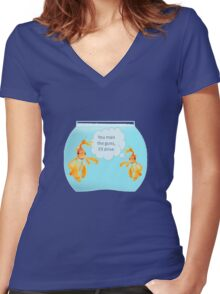 There Were Two Goldfish In A Tank Women's Fitted V-Neck T-Shirt